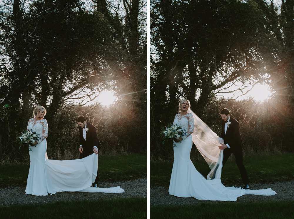 Bride and groom at sunset at Clonabreany House