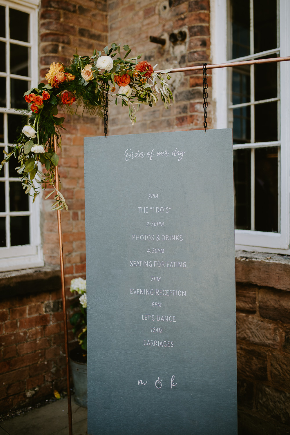 Wedding order of the day, DIY sign outside West Mill