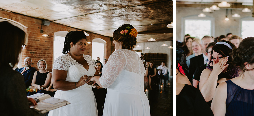 Two brides exchanging rings in the West Mill, Darby
