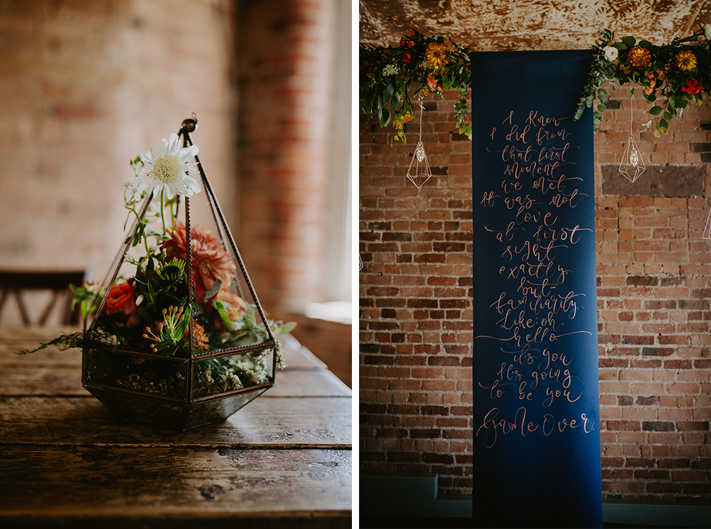 wedding decorations, florals by Marias flowers sign by Polly and Me UK