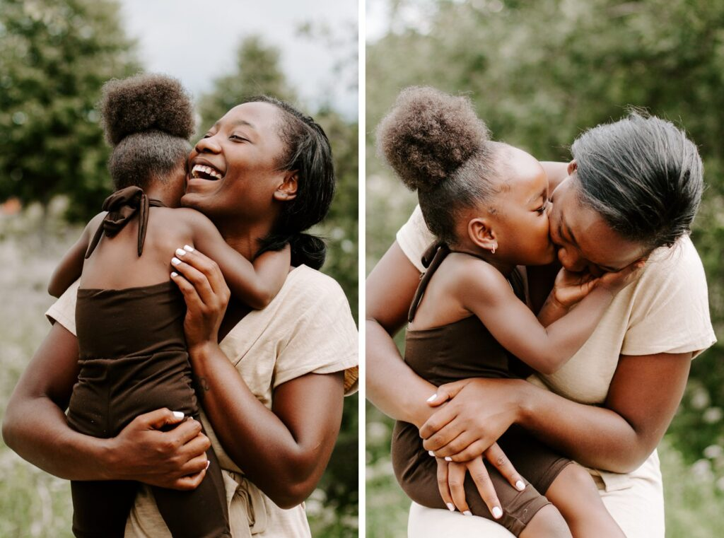 little girl gives her mum massive hug, family portraits