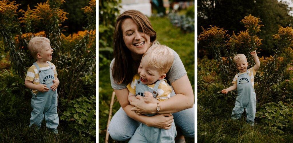 little boy hugging mum, and dancing infront of flowers, family portraits