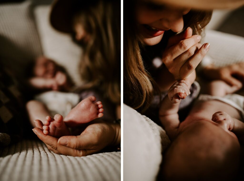 diptych of babies feet and hands
