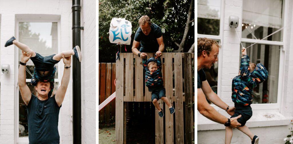 boy plays with his dad in his garden