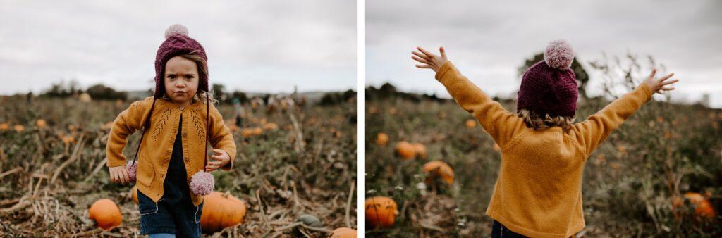 pumpkin patch photos with little girl