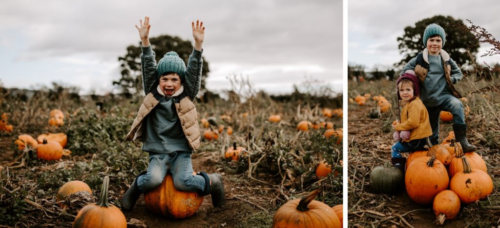pumpkin patch photos with little boy and girl